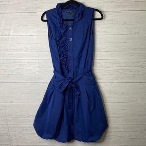 Samuel Dong electric blue bubble hem belted dress